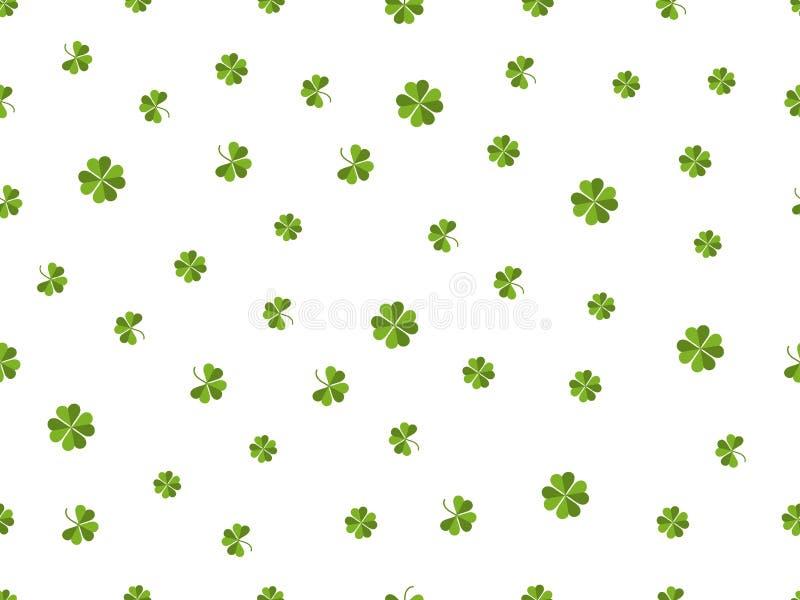 Nahtloses Muster des Klees Grünblätter auf einem weißen Hintergrund Vektor vektor abbildung