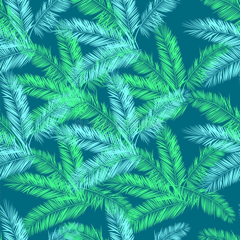 Nahtloses Muster des Knickenten-, Blauen und Grünenpalmenvektors Hawaiihemdmuster vektor abbildung