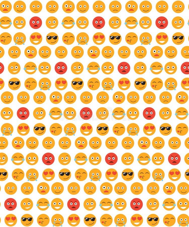 Nahtloses Muster des Lächelns Gefühlhintergrund Gelbes rundes Gefühl lächelt nahtlose Beschaffenheit Auch im corel abgehobenen Be lizenzfreie abbildung