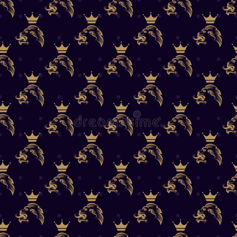Nahtloses Muster des Löwes und der Krone lizenzfreie abbildung