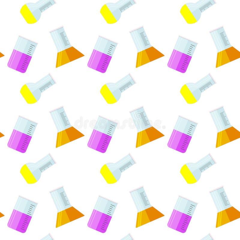 Nahtloses Muster des Laborglasbechers lizenzfreie abbildung