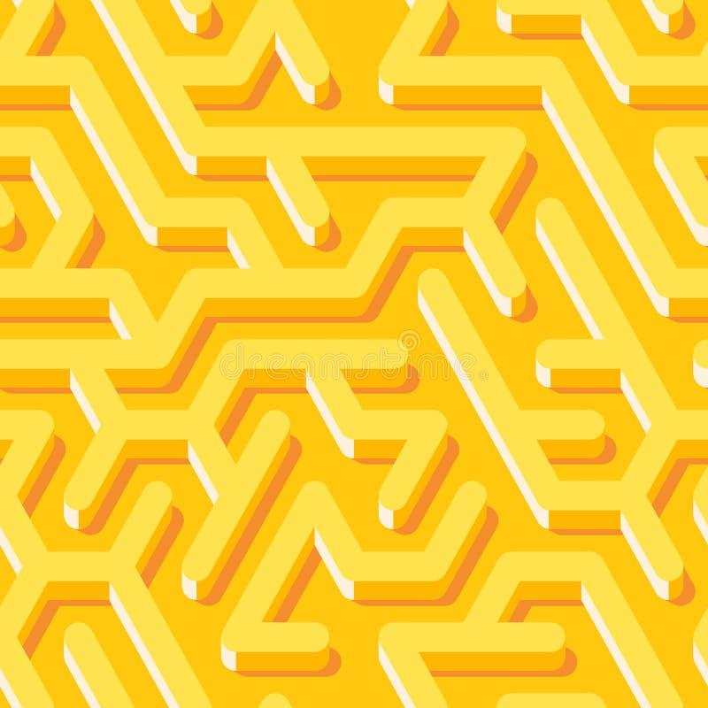 Nahtloses Muster des Labyrinths mit endlosem mit Ziegeln gedecktem Labyrinth für Gewebe oder Tapete stock abbildung