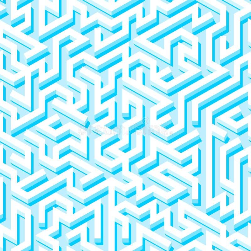 Nahtloses Muster des Labyrinths mit endlosem mit Ziegeln gedecktem Labyrinth für Gewebe oder Tapete lizenzfreie abbildung