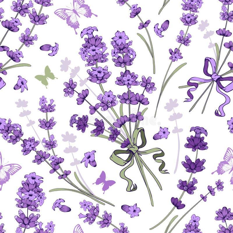 Nahtloses Muster des Lavendels stock abbildung