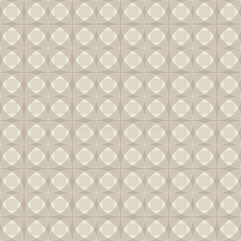 Nahtloses Muster des Linoleums, beige Pastellfarbe Geometrisches einfarbiges Muster der Zusammenfassung von Kreiselementen lizenzfreie abbildung