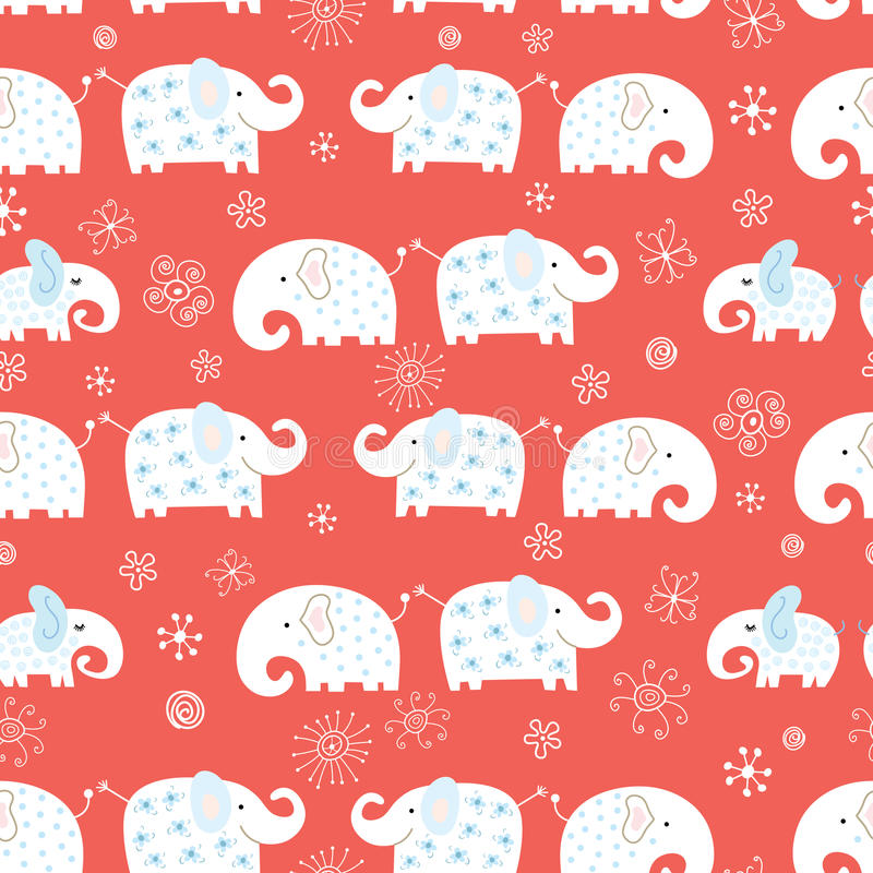 Nahtloses Muster des lustigen Elefanten stock abbildung