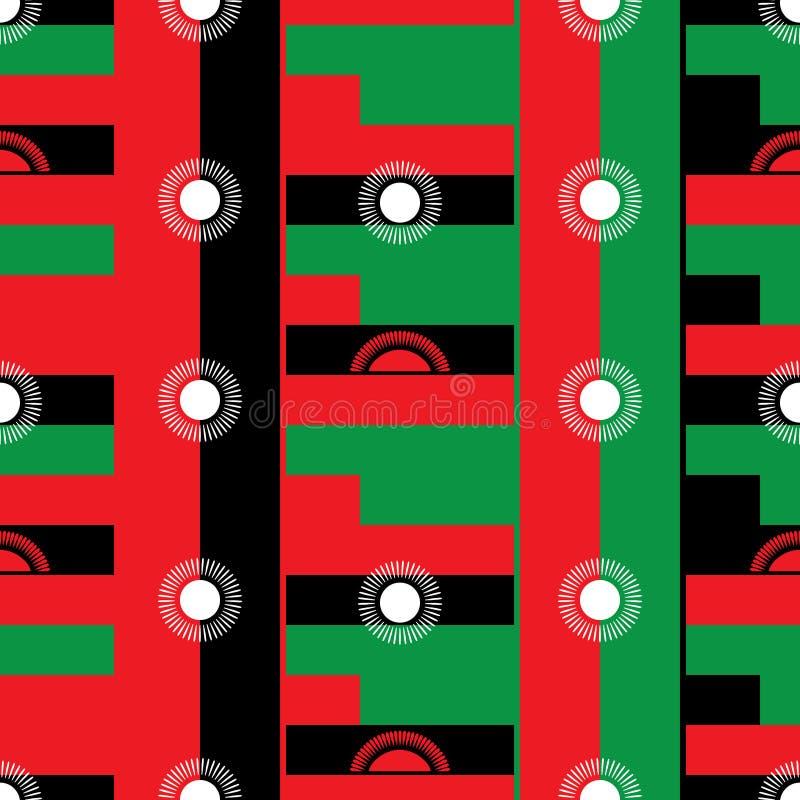 Nahtloses Muster des Malawi-Flaggendesigns stock abbildung