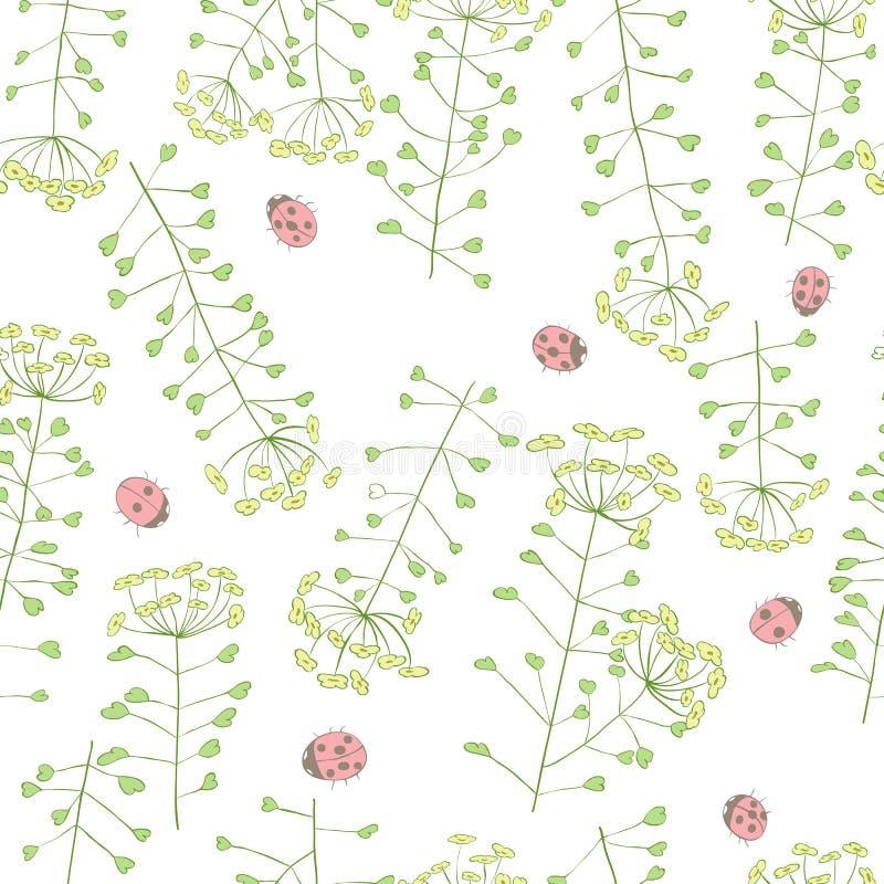 Nahtloses Muster des Marienkäfers und der netten Blumen stock abbildung