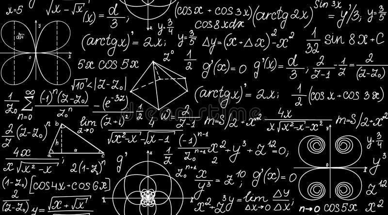 Nahtloses Muster des mathematischen Vektors mit geometrischen Plänen, Formeln und Berechnungen Endlose Beschaffenheit stock abbildung