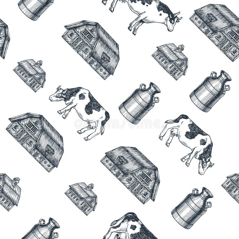 Nahtloses Muster des Milchbauernhofes Kuh, Bauernhof, Milch kann gravierte Illustration Weinleseackerbau Auch im corel abgehobene stock abbildung