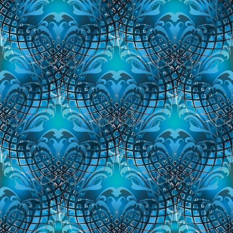 Nahtloses Muster des modernen barocken blauen Vektors 3d Dekoratives Abstr. vektor abbildung