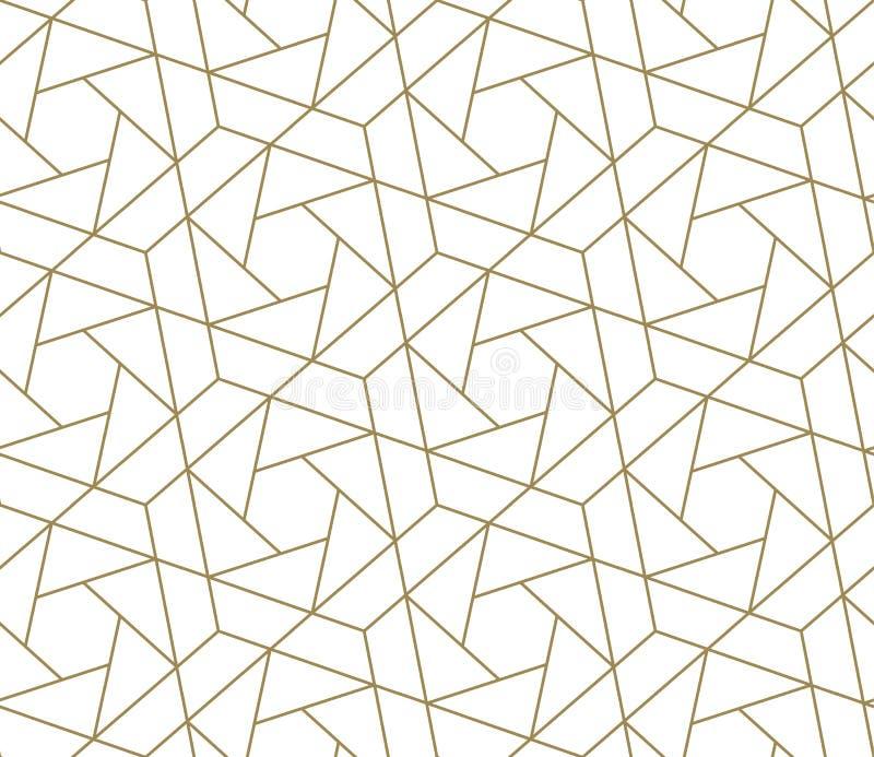 Nahtloses Muster des modernen einfachen geometrischen Vektors mit Goldlinie Beschaffenheit auf weißem Hintergrund Helle abstrakte stock abbildung