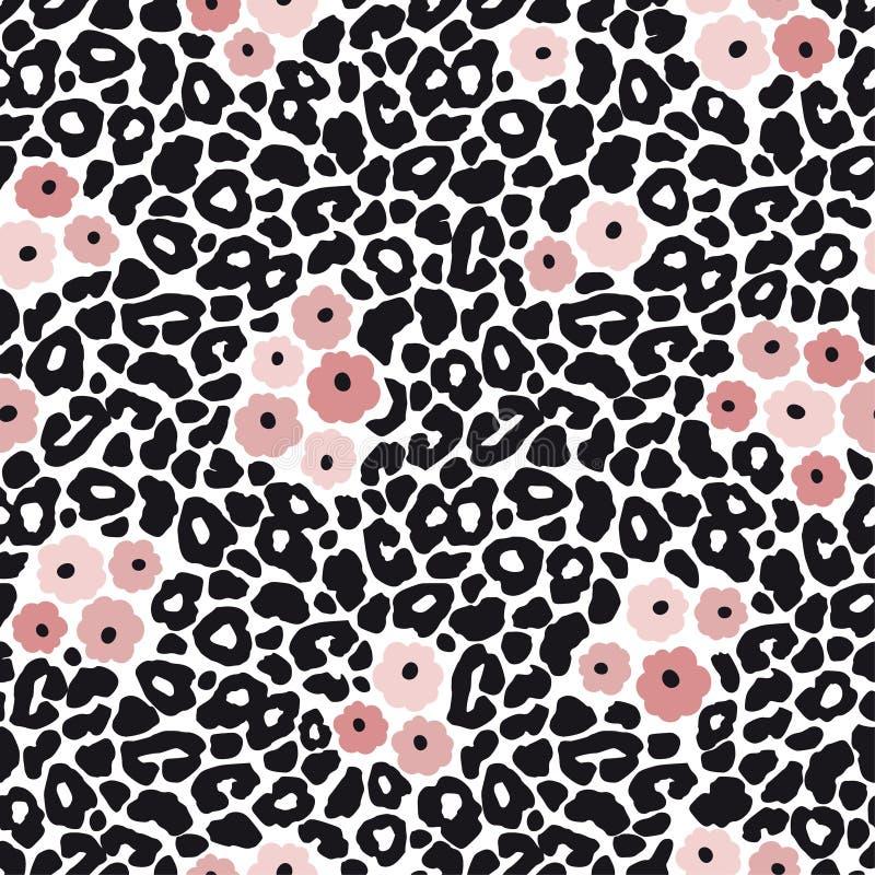Nahtloses Muster des modernen Schwarzweiss-Leoparden mit rosa Blumen Tierhaut und Blumenmuster, Vektorillustration vektor abbildung
