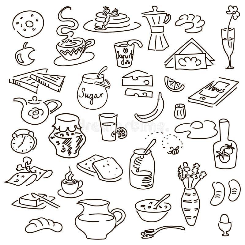 Nahtloses Muster des Morgenfrühstücks-Gekritzels auf Schwarzem Kreidebrettart skizze vektor abbildung