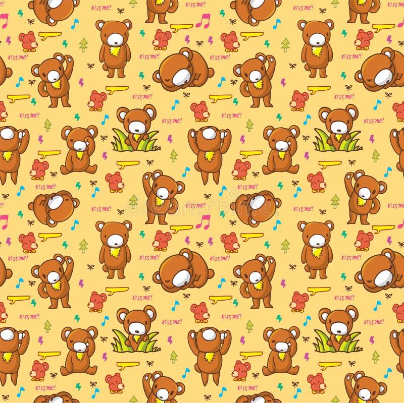 Nahtloses Muster des netten Bären stock abbildung
