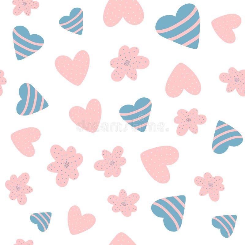 Nahtloses Muster des netten Babys mit Blumen und Herzen Eigenhändig gezeichnet stock abbildung