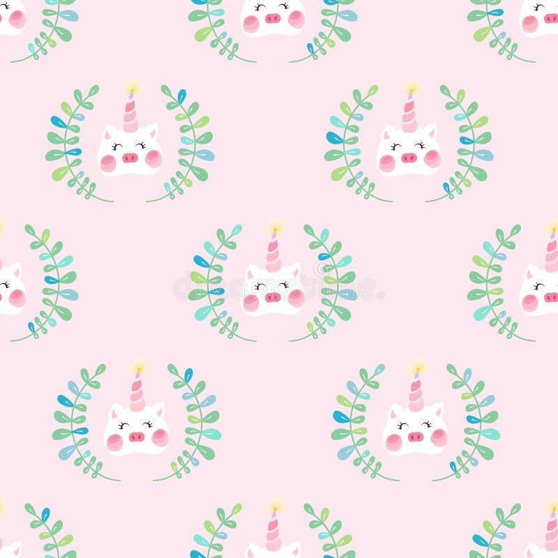Nahtloses Muster des netten Einhornschweins lizenzfreie abbildung