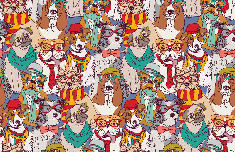Nahtloses Muster des netten Hundemodehippies stock abbildung