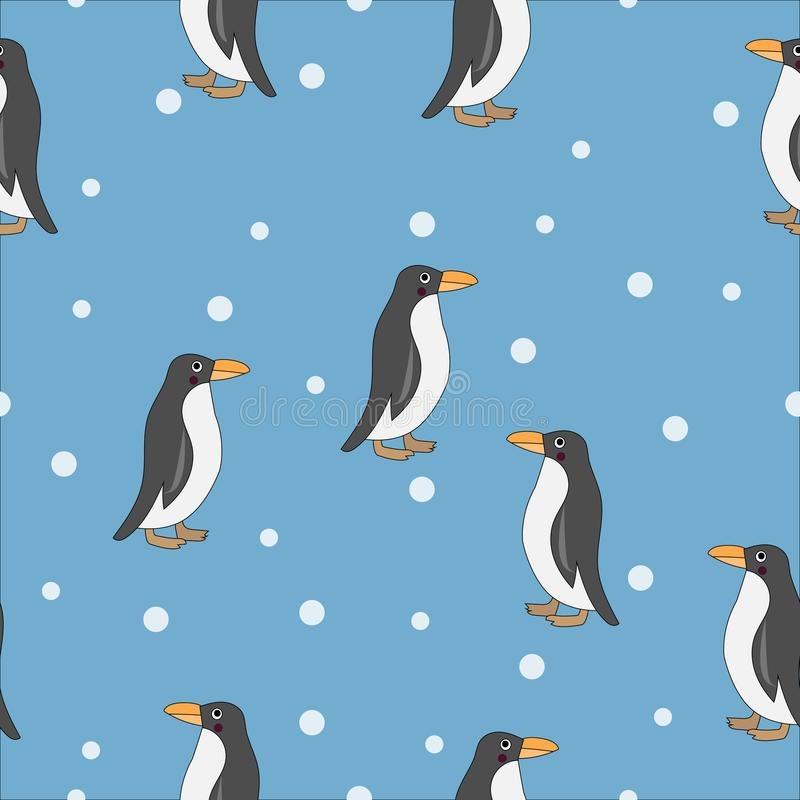 Nahtloses Muster des netten Pinguins stock abbildung