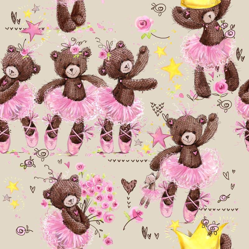 Nahtloses Muster des netten Teddybären Aquarellillustrations-Karikaturballerina vektor abbildung