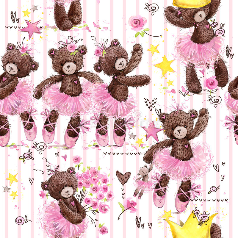 Nahtloses Muster des netten Teddybären Aquarellillustrations-Karikaturballerina lizenzfreie abbildung