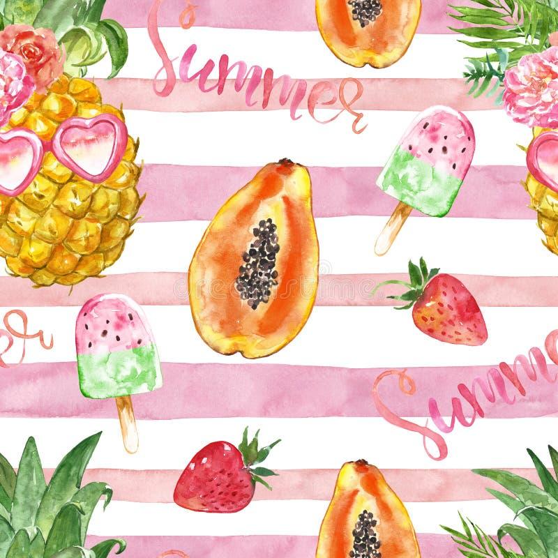 Nahtloses Muster des netten und hellen Sommerstrandes mit handgemalten reifen frischen tropischen Früchten und Nachtisch auf rosa stock abbildung
