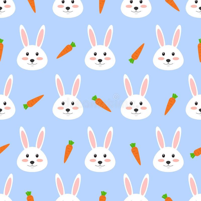 Nahtloses Muster des netten weißen Kaninchens mit Karotte auf weißem Hintergrund vektor abbildung