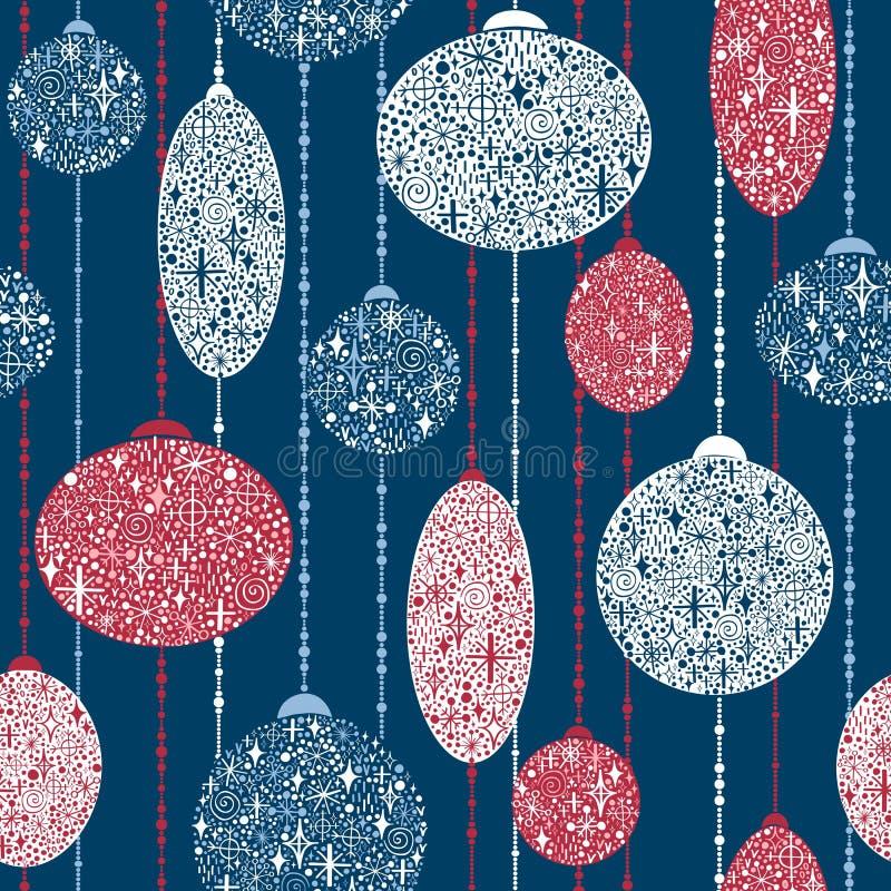 Nahtloses Muster des neuen Jahres mit Bällen von Schneeflocken auf Girlanden vektor abbildung