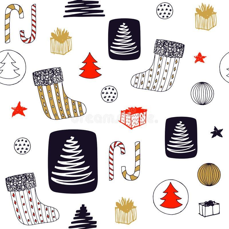 Nahtloses Muster des neuen Jahres mit Weihnachtsstrumpf, Süßigkeit, Weihnachtsbaum, Ball-ANG-Geschenke Hand gezeichnetes Vektorde stock abbildung