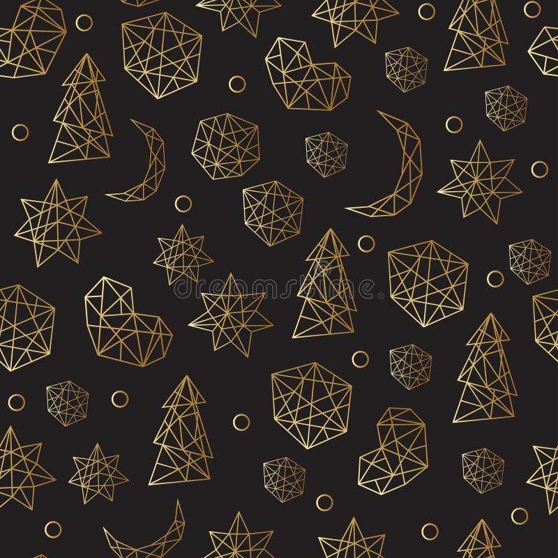 Nahtloses Muster des neuen Jahres und des Weihnachten Luxusgoldmit Sternen, Bälle, noel, Mond Grußkarte, Einladung, Flieger vektor abbildung