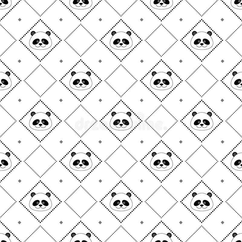 Nahtloses Muster des Pandagesichtes stock abbildung