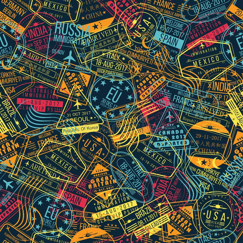 Nahtloses Muster des Passstempels Reisehintergrundkonzept Internationale Ankunftszeichen, Sichtvermerke stock abbildung