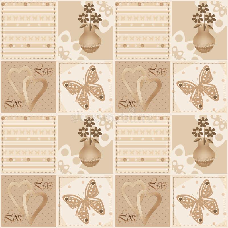 Nahtloses Muster des Patchworks mit Blumen im Vase, in den Herzen und im Kolben stock abbildung