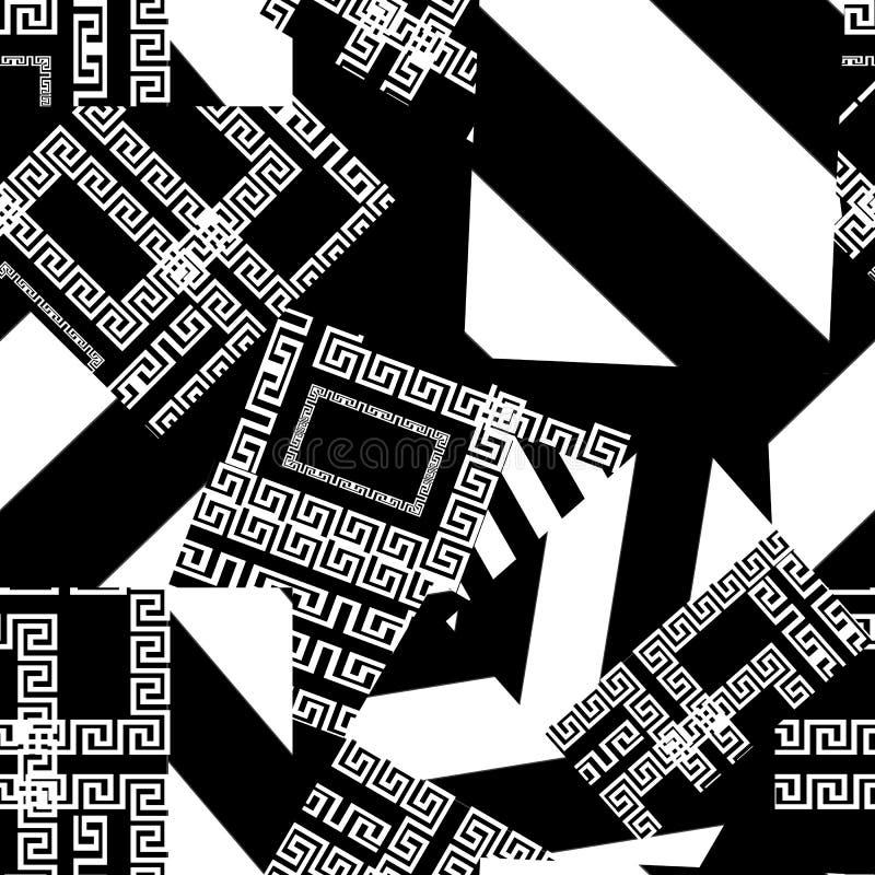 Nahtloses Muster des Patchworkvektors Geometrischer gestreifter griechischer Hintergrund Moderner abstrakter griechischer Schlüss stock abbildung