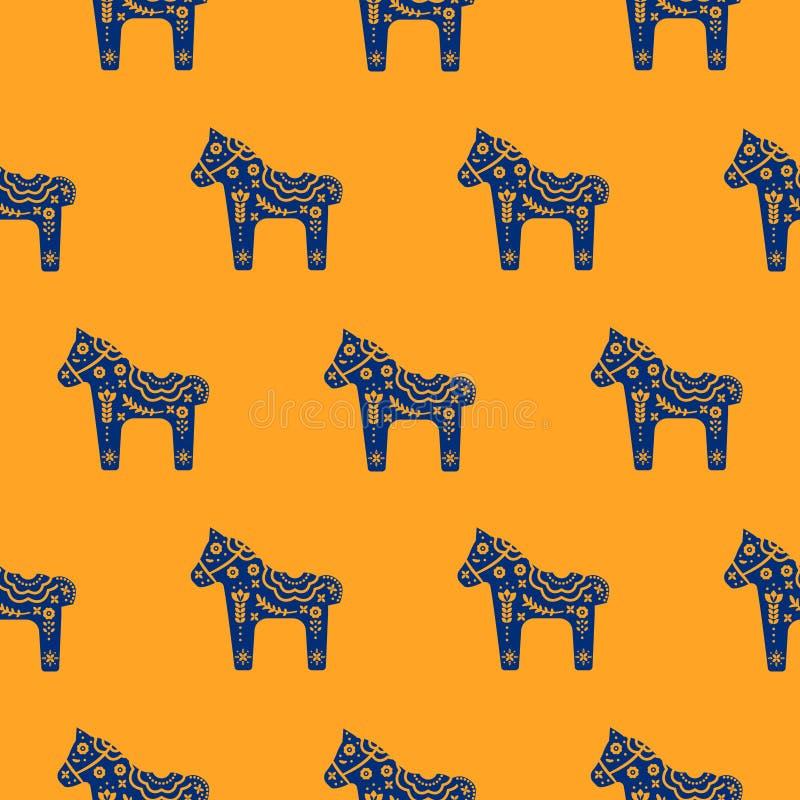 Nahtloses Muster des Pferdeschattenbildes mit der dekorativen mit Blumenbeschaffenheit blau und orangefarben vektor abbildung