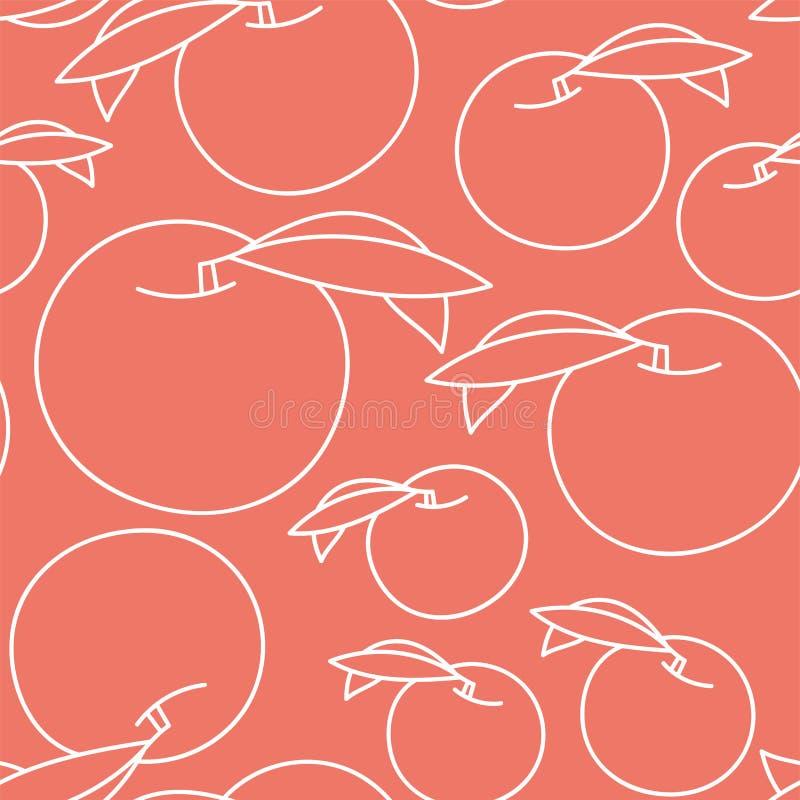Nahtloses Muster des Pfirsiches Handgezogene frische exotische Frucht Vektorskizzenhintergrund Farbgekritzeltapete vektor abbildung