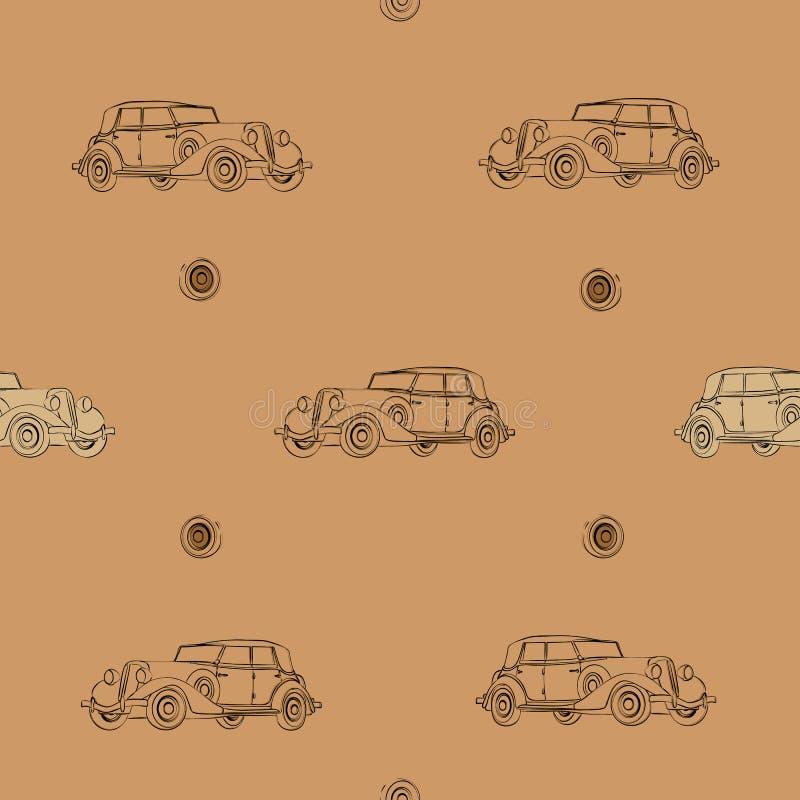 Nahtloses Muster des Retro- Autos vektor abbildung