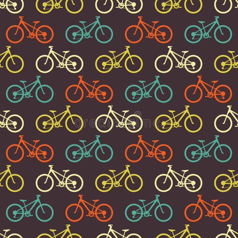 Nahtloses Muster des Retro- Fahrrades lizenzfreie abbildung
