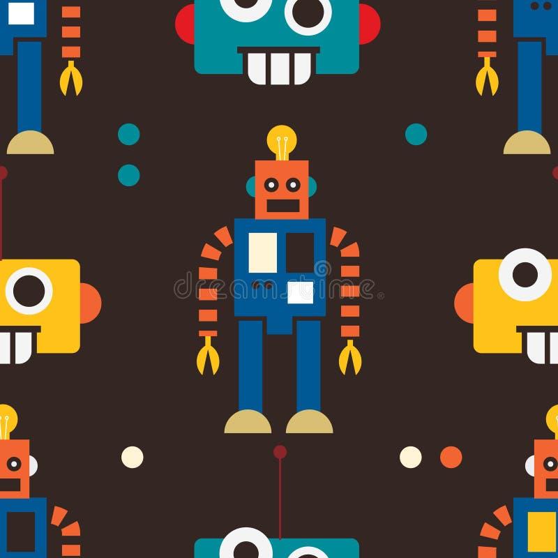 Nahtloses Muster des Roboters stock abbildung