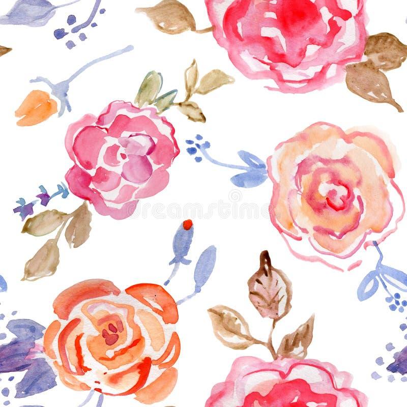 Nahtloses Muster des Rosen-Blumenstraußdesigns auf weißem Hintergrund vektor abbildung