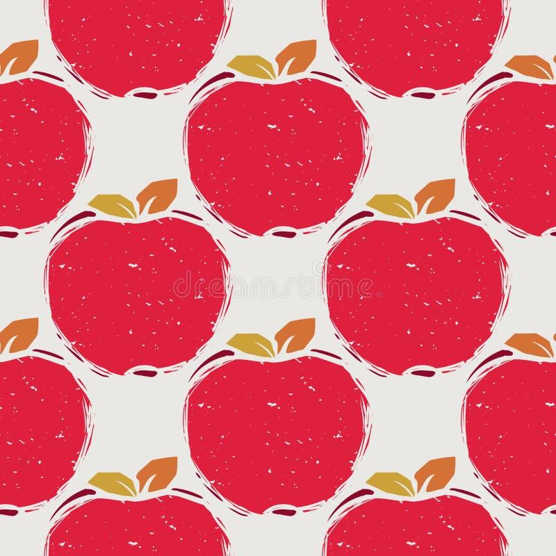 Nahtloses Muster des roten Apfels vektor abbildung