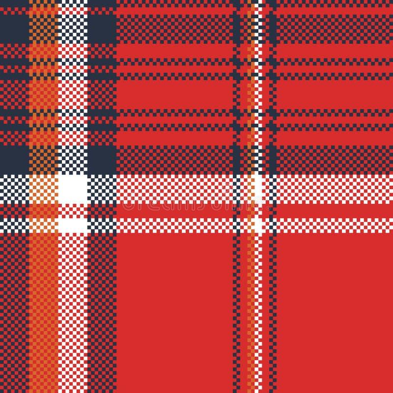 Nahtloses Muster des roten Plaidgewebebeschaffenheits-Pixels vektor abbildung