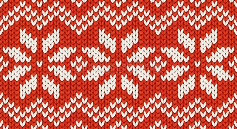 Nahtloses Muster des roten Weihnachtenknit-Vektors mit weißen Schneeflocken und Zickzackverzierung lizenzfreie abbildung