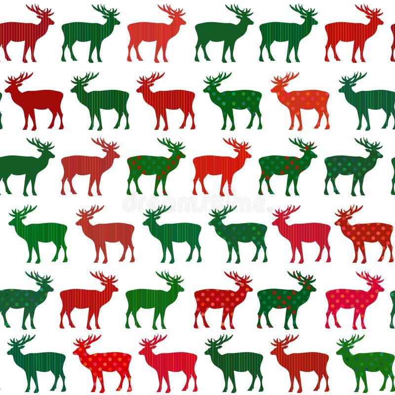Nahtloses Muster des Rotwild-Weihnachtsfeiertags-Vektors vektor abbildung