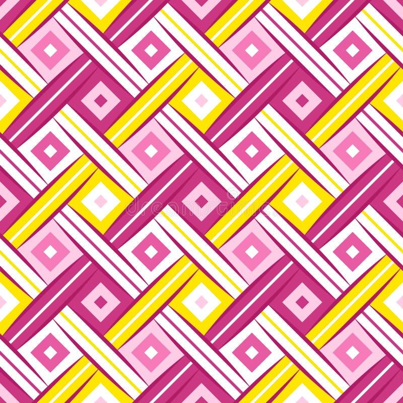 Nahtloses Muster des süßen Rauten-gewebten Materials lizenzfreie abbildung