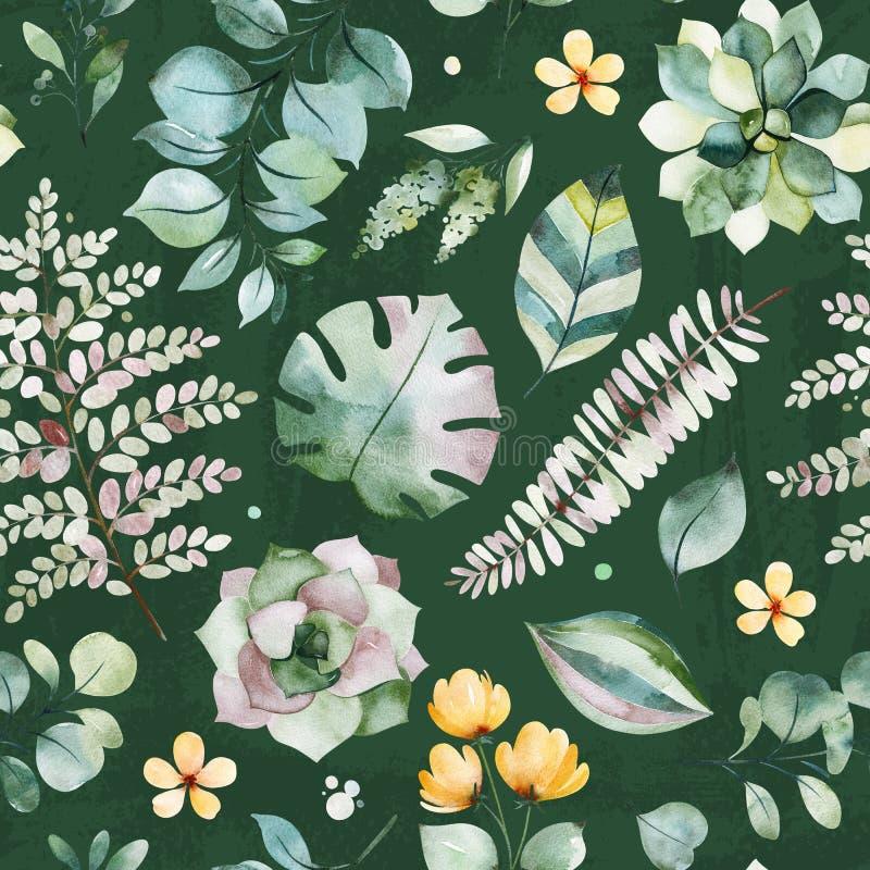 Nahtloses Muster des sch?nen Aquarells mit saftigen Anlagen, Palme und Farnbl?ttern, Niederlassungen, Blumen lizenzfreie abbildung