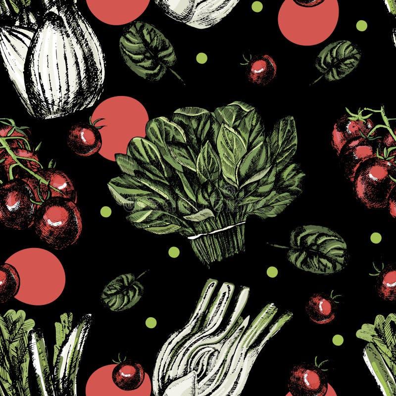 Nahtloses Muster des schönen Aquarells mit Tomaten, Spinat und Fenchel stock abbildung