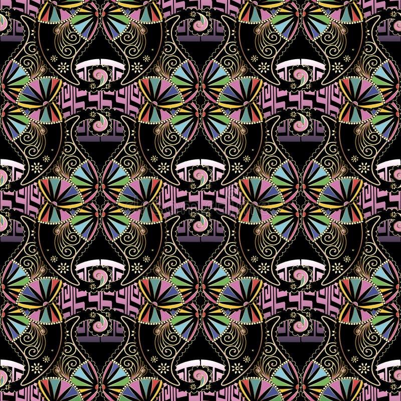 Nahtloses Muster des schönen bunten ethnischen Artgrieche-Vektors Dekorative Paisley-Blumen Griechischer Schl?ssel schl?ngelt sic lizenzfreie abbildung