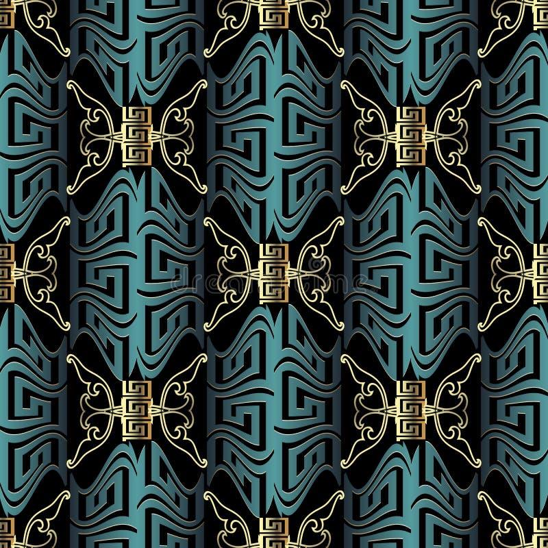 Nahtloses Muster des schönen modernen Vektors des Griechen 3d Weinlese ornam lizenzfreie abbildung