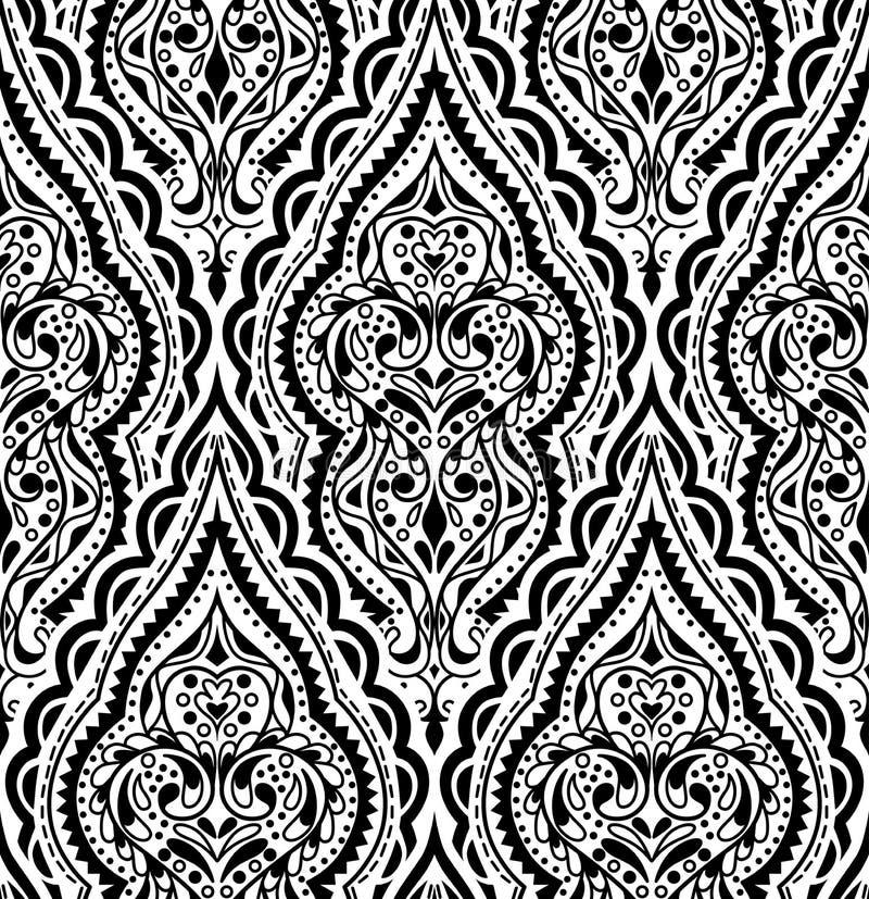 Nahtloses Muster des schönen Vektordamastes Weinlese abstraktes backg lizenzfreie abbildung